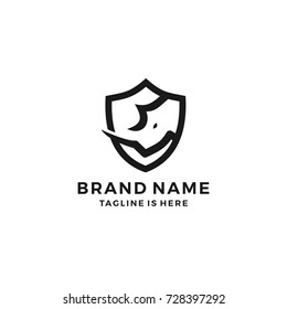 rhino shield security logo template vector icon illustration