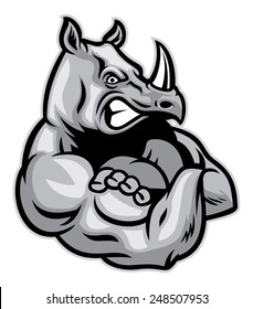 rhino show his big muscle