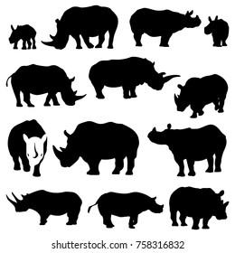 Rhino Silhouette Rhinoceros Symbol Set