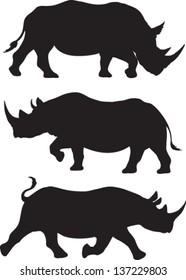 Rhino silhouette vector set of three