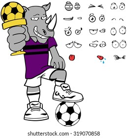 rhino soccer cartoon expression set in vector format very easy to edit
