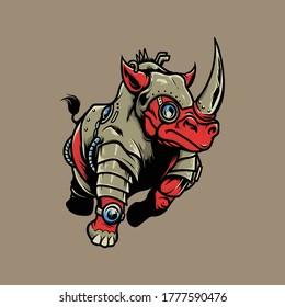 Rhino Steampunk Logo Vector Illustration