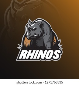 rhino vector logo design mascot with modern illustration concept style for badge, emblem and tshirt printing. angry rhinos illustration.