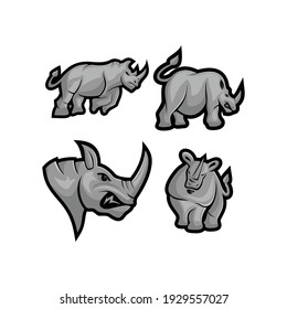 Rhino vector mascot Set with modern illustration concept style for badge, emblem and t-shirt printing