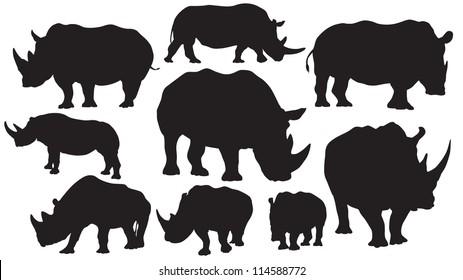 Rhino vector silhouettes