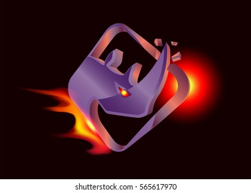 Rhino - violet 3D logo.