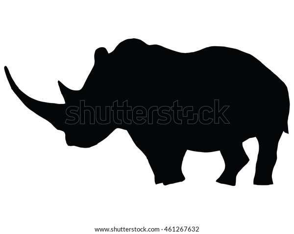 b50efefd8232a Rhinoceros African Animals Zoo Tattoo Silhouette Stock Vector ...