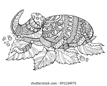 Rhinoceros beetle insect coloring book vector illustration. Tattoo stencil. Black and white lines. Lace pattern