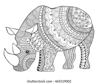 Rhinoceros. Black white hand drawn doodle animal. Ethnic patterned vector illustration. African, indian, totem, tribal, zentangle design. Sketch for coloring page, tattoo, poster, print, t-shirt