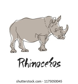 Rhinoceros in a cartoon style, is insulated on white background. African animal wildlife vector illustration icon.