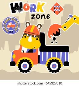 rhinoceros drive a truck in work zone, vector cartoon illustration