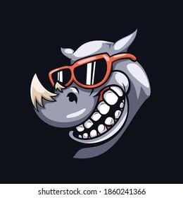 Rhinoceros head mascot illustration vector