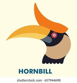 Rhinoceros Hornbill Bird Flat Style Vector Icon Logo Illustration