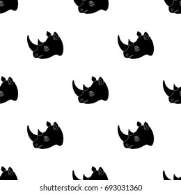Rhinoceros icon in black style isolated on white background. Realistic animals symbol stock vector illustration.