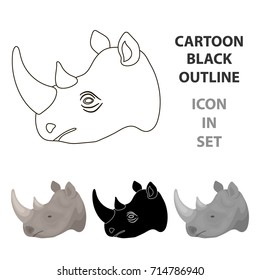 Rhinoceros icon in cartoon style isolated on white background. Realistic animals symbol stock vector illustration.