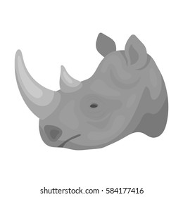 Rhinoceros icon in monochrome style isolated on white background. Realistic animals symbol stock vector illustration.