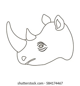 Rhinoceros icon in outline style isolated on white background. Realistic animals symbol stock vector illustration.