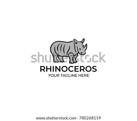 rhinoceros linear logo template rhino vector stock vector royalty
