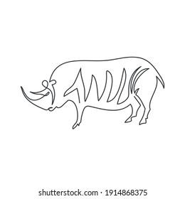 サイの1行の洞穴描画のベクターイラスト