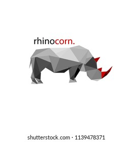 Rhinoceros painted in low-poly style. He has a red horn. There is an inscription on the image. Vector multicolor illustration for T-shirts, logos, image, print