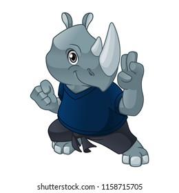 Rhinoceros with self defense pose cartoon character design vector illustration