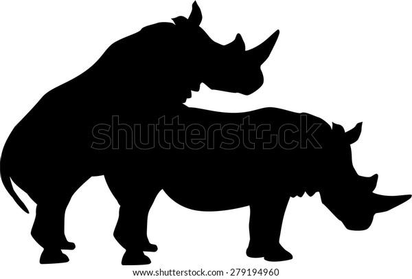 Rhinoceroses Having Sex Stock Vector Royalty Free 279194960