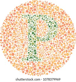 Rho Eye Test - Part of my Greek collection of eye test designs. The Letter Rho cunningly hid inside an Ishihara inspired design.