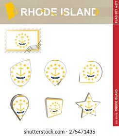 Rhode Island Flag Set, US state, Flag Set #277. Vector.