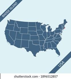 Rhode Island on USA map