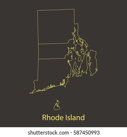 Rhode Island outline,stroke of map with administrative division. Vector illustration