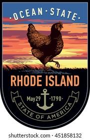 Rhode Island state emblem, Red Chicken, sunset on a dark background