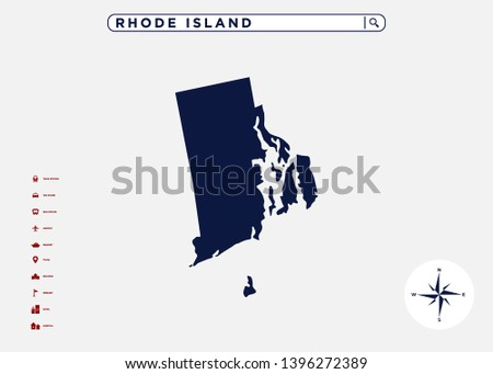 Rhode Island State Map United States Stock Vector (Royalty Free ...