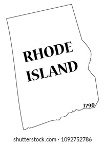 A Rhode Island state outline with the date of statehood isolated on a white background