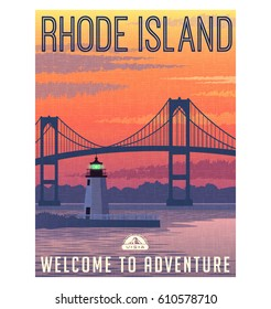 Rhode Island travel poster or sticker. Vector illustration of Newport Bridge and harbor light at sunrise.