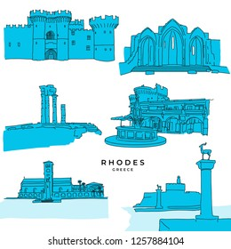 Rhodes Greece landmarks drawings filled. Hand-drawn vector illustration. Famous travel destinations series.