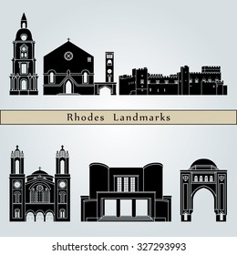 Rhodes landmarks and monuments isolated on blue background in editable vector file