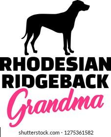 Rhodesian Ridgeback Grandma silhouette in black