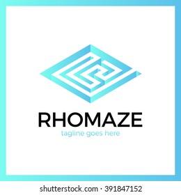 Rhomb Square Maze Logo. Labyrinth Logotype