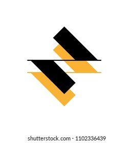 rhombic symbol in black and yellow colors, editable vector