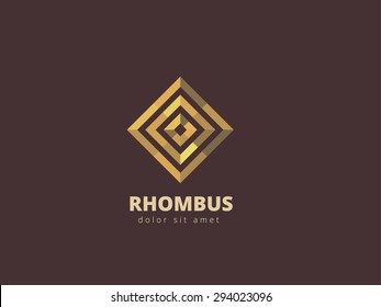 Rhombus abstract metal logo design template. Business infinity symbol. Gold looped infinity shape. Vector illustration.