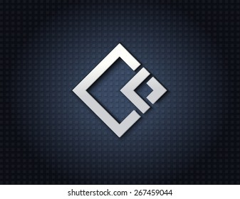 Rhombus abstract vector logo design template. Business, jewelry, fashion concept. Luxury symbol. Metallic effect