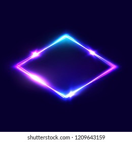 Rhombus background on dark blue backdrop. Night club neon light rhomboid. 3d lozenge sign with neon effect. Techno electric rhomb. Rhombus logo. Electric street diamond. 80s style vector illustration.