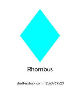 Rhombus in cartoon style, card with geometric shape for kid, preschool activity for children, vector illustration