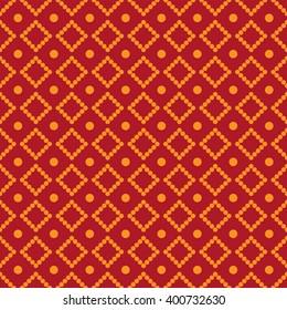 Rhombus dots orange on red