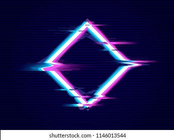Rhombus  with Glitch effect. Distorted glitch style modern background. Glow design for banner, poster, card, flyer, brochure. Vector illustration.