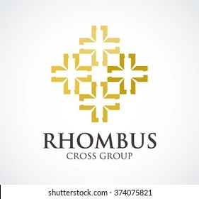 Rhombus gold of cross group abstract vector and logo design or template luxury decoration business icon of company identity symbol concept