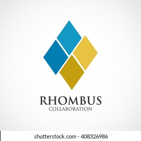 Rhombus group of collaboration abstract vector and logo design or template square business icon of company identity symbol concept