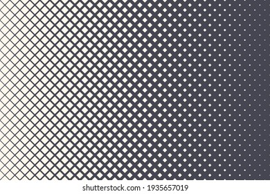Rhombus Halftone Pattern Vector Geometric Technology Abstract Background. Half Tone Squares Retro Colored Texture. Minimal 80s Style Dynamic Tech Structure Wallpaper