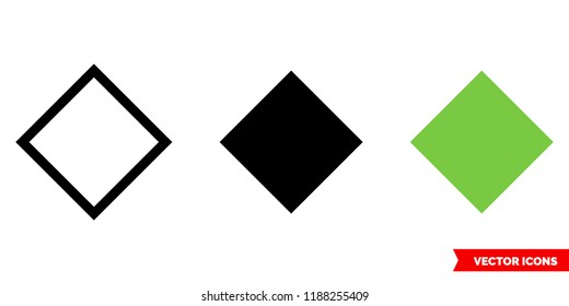 Rhombus icon of 3 types: color, black and white, outline. Isolated vector sign symbol.