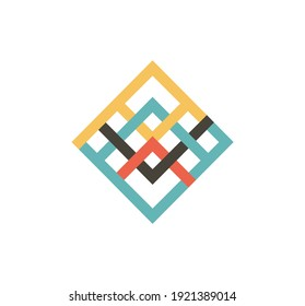 Rhombus Lines. Lines in the form of a diamond. Colored lines of the logo. Arrows in the form of a diamond.
